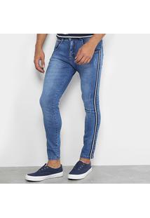 Calça Jeans Skinny Biotipo Faixa Lateral Masculina - Masculino-Azul