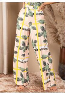 Calça Pantalona Geométrico Onça Cintura Alta