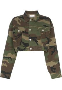 Re/Done Jaqueta Cropped Camuflada - Green