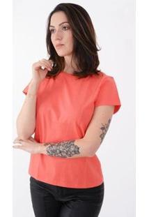 T-Shirt Lejan Básica Algodão Feminina - Feminino-Coral
