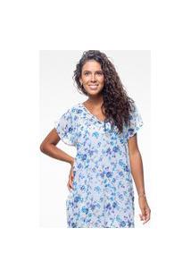 Blusa 101 Resort Wear Saida De Praia Estampada Crepe Decote V Flor Azul Vazado