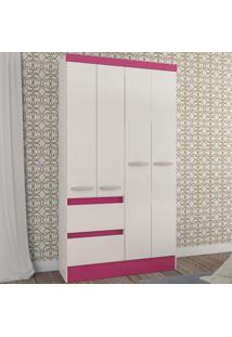 Guarda-Roupa Infantil Maragogi 4 Portas 2 Gavetas Flex Branco/Rosa Brilho - Atualle Móveis