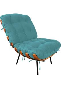 Poltrona Costela Suede - D'Rossi Azul Tiffany