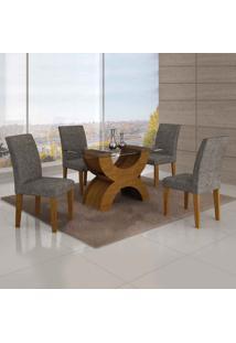 Conjunto De Mesa Com 4 Cadeiras Olímpia Linho Imbuia Mel E Cinza