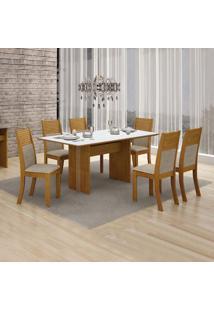 Conjunto De Mesa De Jantar Florença Com 6 Cadeiras Havai Linho Imbuia Mel Branco
