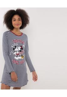 Camisola Listrada Mickey E Minnie Em Material Sustentável