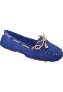 f8be7c395 ... Mocassim Em Couro Com Pespontos- Azul Royalcarmen Steffens