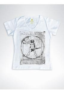 Camiseta Feminina Gola V Rock Cool Tees Guitarra Da Vinci Branca