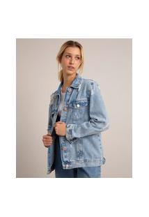 Jaqueta Longa Jeans Destroyed Azul Médio