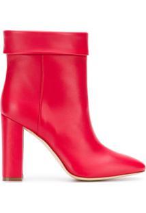 Twin-Set Ankle Boot De Couro - Vermelho
