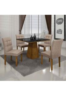Conjunto De Mesa Com 4 Cadeiras Itália Ii Canela E Bege