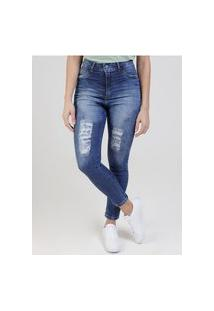 Calça Jeans Destroyed Feminina Azul