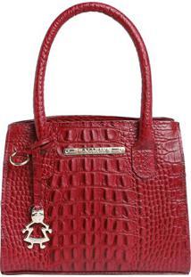 Bolsa De Mão Em Couro Com Bag Charm - Vermelha - 20Xdi Marlys