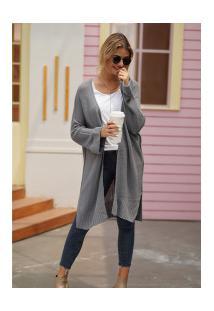 Cardigan De Lã Astana Feminino - Cinza Claro
