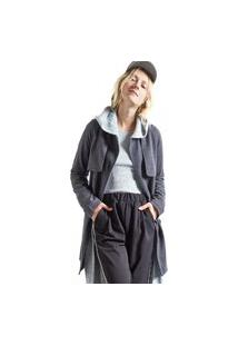Trench Coat Sarjado Preto
