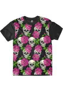 Camiseta Br Shop Caveira Mini Rosas Sublimada - Masculino