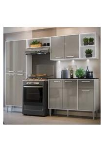 Cozinha Completa Compacta C/ 3 Leds, Armário E Balcáo C/ Tampo 4 Pçs Xangai Multimóveis Bca/Lca Fumê