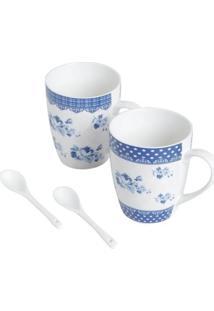 Conjunto Lyor Com 2 Canecas E 2 Colheres De Porcelana Branco/Azul