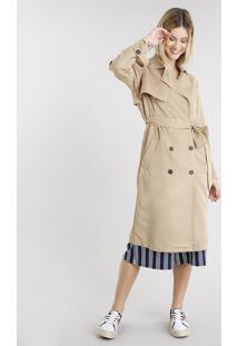 Casaco Feminino Trench Coat Com Faixa E Botões Bege