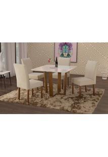 Conjunto De Mesa De Jantar Com 4 Cadeiras E Tampo De Madeira Maciça Valencia I Suede Creme E Off White