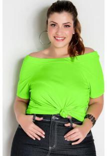 Blusa Ciganinha Verde Neon Plus Size