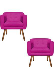 Kit 02 Poltrona Decorativa Julia Suede Pink - D'Rossi