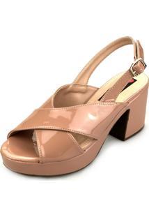 Sandália Love Shoes Meia-Pata Cruzada Verniz Nude