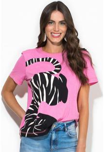 Camiseta Linho Estampada Rosa