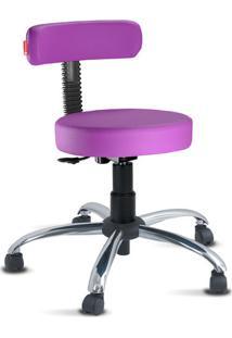 Cadeira Mocho Slim Lilás Escuro Cromado