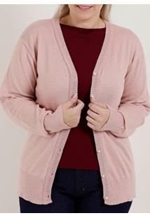 Cardigan Plus Size Feminino Rosa