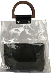 Bolsa Bag Dreams De Praia De Mão Com Necessaire Impermeável Transparente E Preto