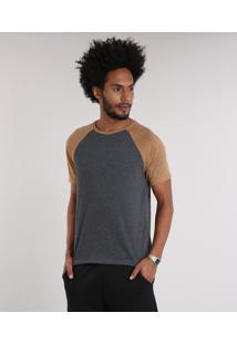 Camiseta Masculina Raglan Básica Manga Curta Decote Careca Caramelo