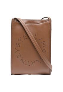 Stella Mccartney Bolsa Transversal Com Logo Perfurado - Marrom