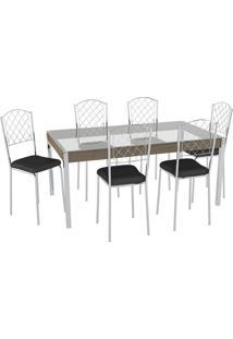 Conjunto Mesa Tampo Vidro C/ 6 Cadeiras Vinil Preto/Cromado Pozza
