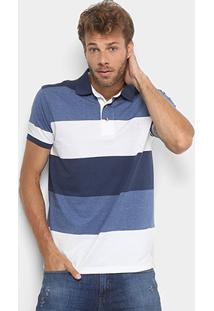 c14355c333 ... Camisa Polo Aleatory Listrada Fio Tinto Masculina - Masculino-Azul+ Branco
