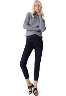 Calça Jeans Skinny Costuras Contraste