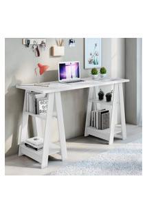 Mesa Escrivaninha 4 Prateleiras Jcm Movelaria Vigor Branco
