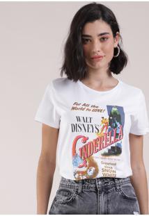 Blusa Feminina Cinderela Manga Curta Decote Redondo Branca