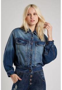 Jaqueta Jeans Sacada Vintage Denin Escuro Feminina - Feminino-Jeans