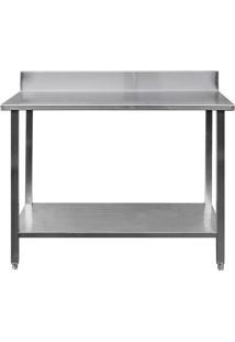 Mesa / Bancada De Apoio 100% Aço Inoxidável Com Espelho - 1,2M (120X70X90Cm) - Br-120C
