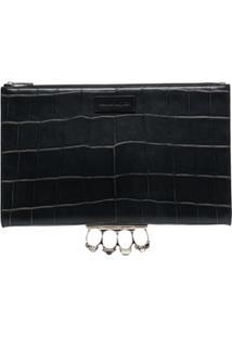 Alexander Mcqueen Four Ring Crocodile-Embossed Clutch Bag - Preto