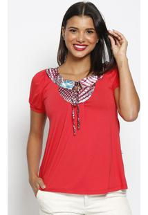Blusa Com Amarraã§Ã£O- Vermelha & Azul Claro- Maclumaclu