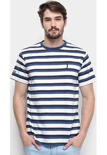 Camiseta Aleatory Listrada Masculina - Masculino-Azul+Branco