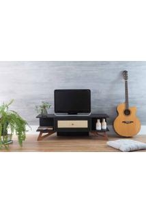 Rack Tv Pequeno Baixo Stills Preto Com Jatobá 108X33,6X35,5Cm