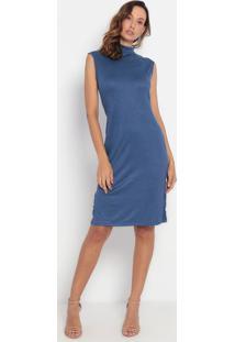 Vestido Em Camurça Com Fendas- Azul- Lança Perfumelança Perfume
