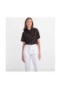 Camisa Grid Com Estampa Cereja | Blue Steel | Preto | P