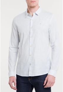 Camisa Ml Ckj Masc Listrada Silk - Azul Claro - P