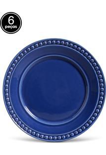 Conjunto 6Pçs Pratos Rasos 26,5Cm Porto Brasil Atenas Azul-Marinho