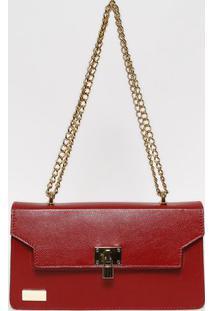 Bolsa Em Couro Com Corrente- Vermelha & Dourada- 15,Anette