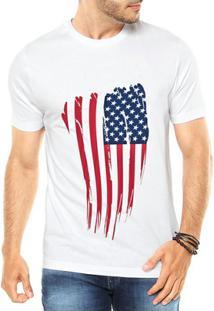 Camiseta Criativa Urbana Bandeira Eua Usa - Masculino-Branco
